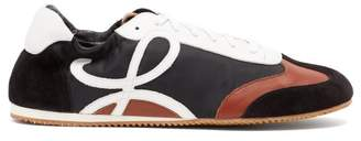 Loewe Logo Nylon, Suede And Leather Low Top Trainers - Mens - Black