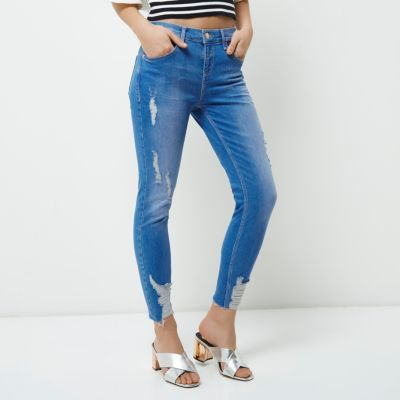 River IslandRiver Island Womens Petite distressed Amelie super skinny jeans