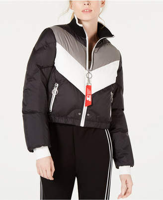 Starter Graphic Colorblocked Cropped Puffer Jacket
