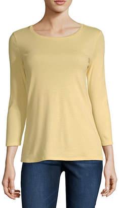 5a6bb9459c7 Liz Claiborne Womens Crew Neck 3/4 Sleeve T-Shirt