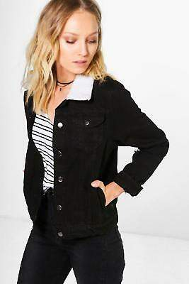 boohoo NEW Womens Borg Collar Denim Jacket in