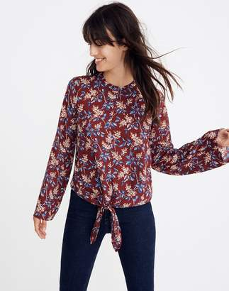 Madewell Bell-Sleeve Tie Top in Antique Flora