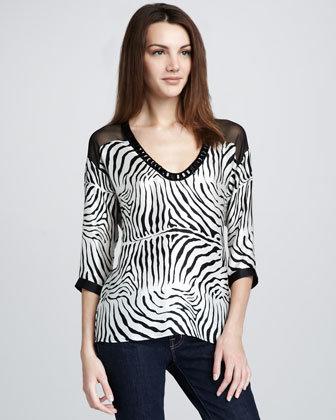 Nanette Lepore Zebra-Print Blouse