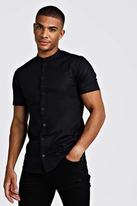 boohoo Muscle Fit Grandad Collar Short Sleeve Shirt