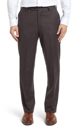 Berle Flat Front Classic Fit Solid Wool Trousers