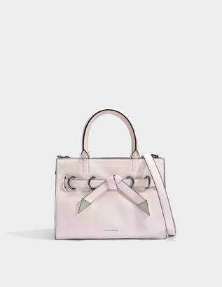 68c7657fc70e2 Karl Lagerfeld Paris K Rocky Bow Small Shopper Bag in Light Rose Grained  Calf Leather