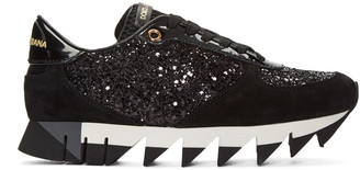 Dolce & Gabbana Black Suede & Glitter Sneakers $695 thestylecure.com