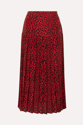 Rixo Tina Pleated Leopard-print Silk Crepe De Chine Midi Skirt - Red