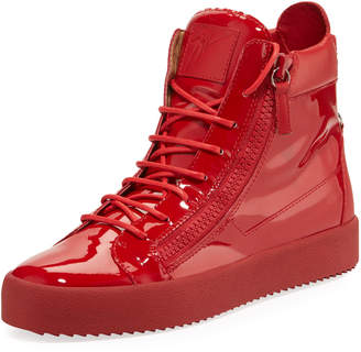 Giuseppe Zanotti Men's Patent Leather High-Top Sneakers