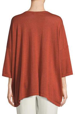eskandar Crewneck Short-Sleeve Wide Cashmere-Silk T-Shirt