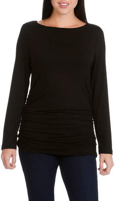 Larry Levine Boat Neck Ruched L/S Knit Top