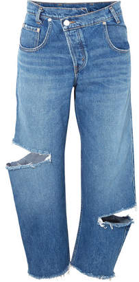Monse Distressed Boyfriend Jeans - Mid denim