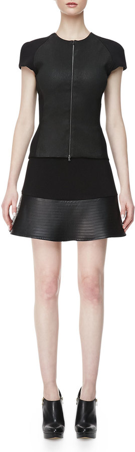 L'Agence Ponte & Leather-Peplum Miniskirt