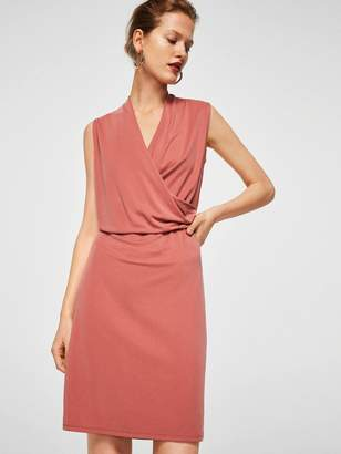 MANGO Drape Front Dress - Coral