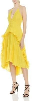 Halston Pleated Ruffled Halter Dress