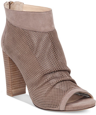 Vince Camuto Cosima Perforated Block-Heel Booties $139 thestylecure.com