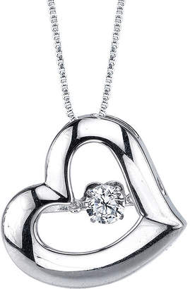 FINE JEWELRY Sterling Silver Dancing Cubic Zirconia Heart Pendant Necklace