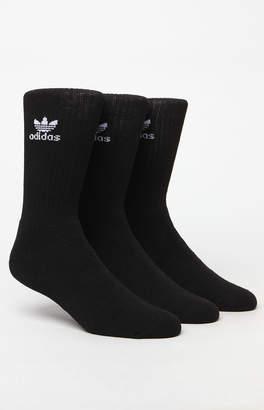 adidas Trefoil 6 Pack Black and White Crew Socks
