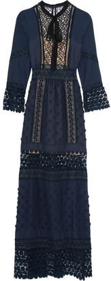 Self-Portrait - Spring Floral-appliquéd Guipure Lace And Crepe Maxi Dress - Navy $580 thestylecure.com