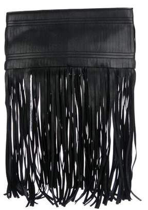 Herve Leger Leather Fringe Clutch