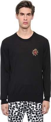 Dolce & Gabbana Heart Patch Cotton Gauze Knit Sweater