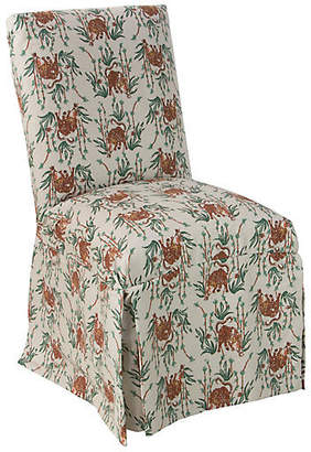 One Kings Lane Owen Skirted Side Chair - Bamboo Tiger Linen