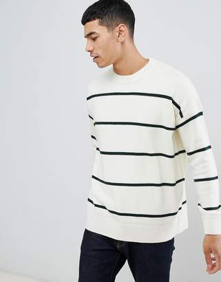 New Look sweater with bold stripes in ecru