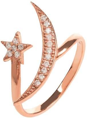Rosegold Latelita - Moon & Star Ring White Cz