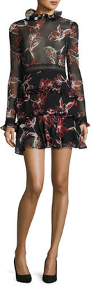 NICHOLAS French Floral Ruffle-Trim Mini Dress $595 thestylecure.com