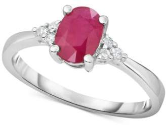Macy's Ruby (3/4 ct. t.w.) & Diamond (1/10 ct. t.w.) in 14k White Gold