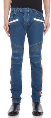 Balmain Taped Moto Slim Jeans