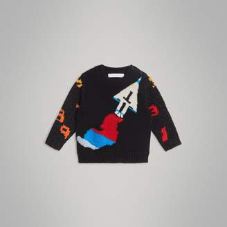 Burberry Childrens Rocket Detail Intarsia Cashmere Blend Sweater