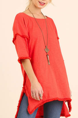 Umgee USA Fringed Hem Tunic