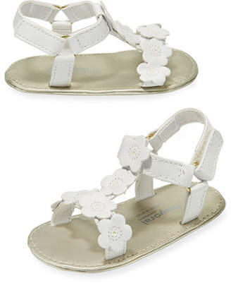 Mayoral Faux-Leather Sandal w/ Flower Appliques, Baby