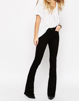 ASOS Bell Flare Jeans In Clean Black With Pressed Crease $53 thestylecure.com