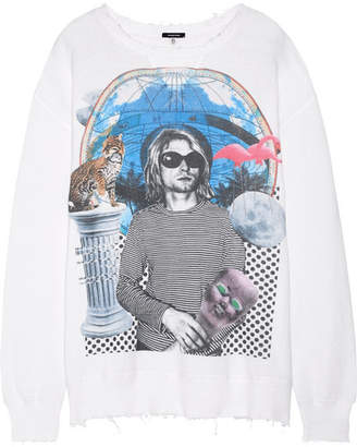 R13 - Kurt Distressed Printed Cotton-terry Sweatshirt - White