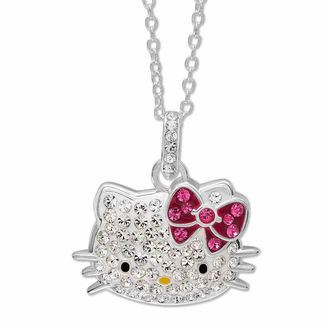 Hello Kitty Sterling Silver Crystal Head Pendant Necklace $99.99 thestylecure.com