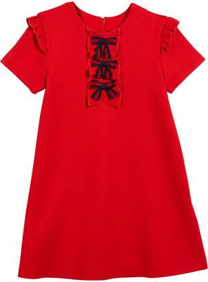 Gucci Short-Sleeve Jersey Stretch Ruffle-Trim Dress w/ Web Bows, Size 12-36 Months