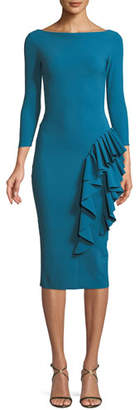 Chiara Boni Maria Body-Con Dress w/ Ruffle Skirt