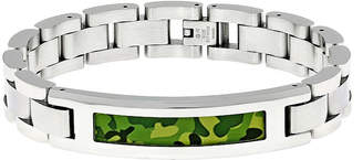 FINE JEWELRY Mens Stainless Steel and Camouflage ID Bracelet