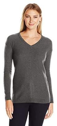 Lark & Ro Women's 100% Cashmere Soft Textured Front Deep V-Neck Sweater
