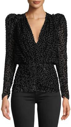 Isabel Marant Shimmered Devore V-Neck Puff-Sleeve Blouse