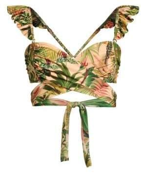 PatBO Paradise Ruffle Wrap Bikini Top