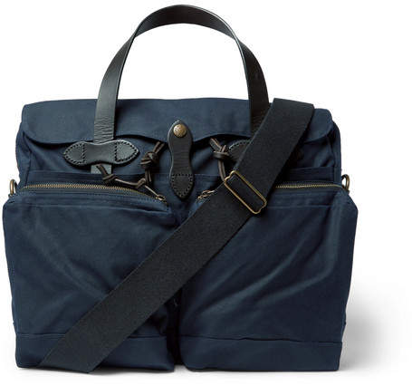 Filson Leather-Trimmed Waxed-Cotton Canvas Briefcase