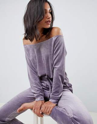 Asos DESIGN Lounge velour off shoulder sweat