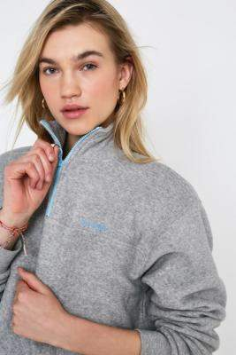 Urban Outfitters Iets Frans... iets frans... Textured Half-Zip Crop Track Top - grey S at