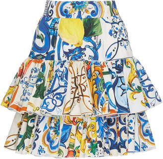 Dolce & Gabbana Maiolica-Print Tiered Mini Skirt