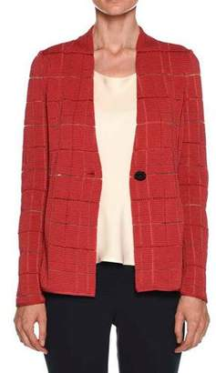 Giorgio Armani Sheer Windowpane Check One-Button Blazer