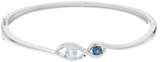 Sterling Silver Blue Topaz & Cubic Zirconia Bangle Bracelet