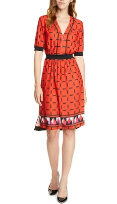 Ted Baker Valent Geo Print Zip Front Dress